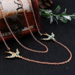 bird unique chain necklace 2 Layer multi Layer